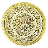 Wrapables Round Vintage Floral Placemat with Gold Embroidery, 13-Inch, Luxurious Floral, Set of 2