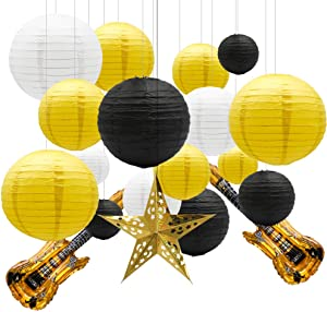 KAXIXI Round Chinese Paper Lanterns Sunshine Baby Shower Decorations 19pcs with Guitar Foil Balloons Star Lantern for Graduation Honey Bee Birthday Bachelorette (Yellow White Black)