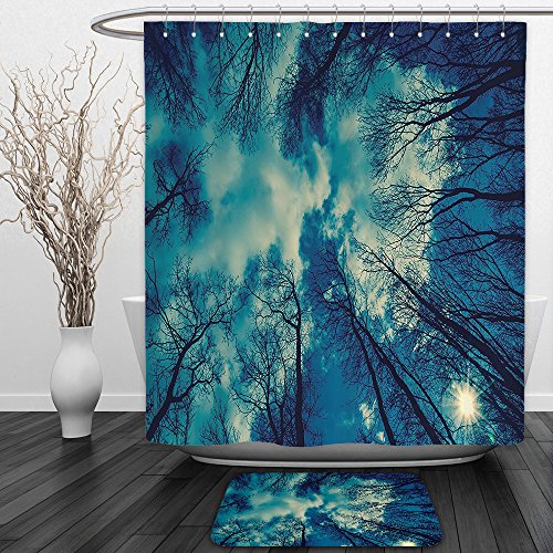 [Vipsung Shower Curtain And Ground MatFarm House Decor Collection View to Trees-tops and Cloudy Sky Weather Heaven Dream Night Ups Giver of Life Theme Blue BlackShower Curtain Set with Bath Mats Rugs] (Superhero Stand Ups)