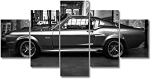 HD Printed Car Art Painting 5P Wall Decor FORD MUSTANG GT500 ELEANOR CANVAS SET Canvas Decor Painting (8x14x2 8x18x2 8x22x1,With frame)