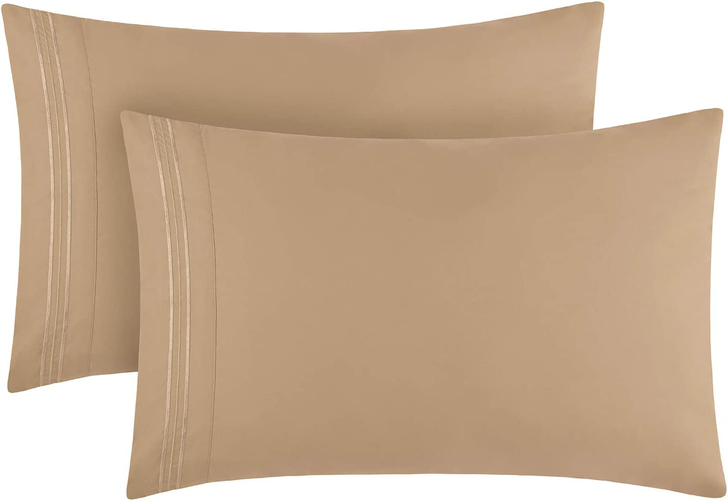 Mellanni King Size Pillow Cases 2 Pack - Pillow Covers - Pillow Protector - Luxury 1800 Bedding Sheets & Pillowcases - Envelope Closure - Wrinkle, Fade, Stain Resistant (Set of 2 King Size, Tan)