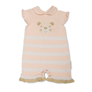 f35284f7b2e Baby Girls Pink   White Knitted Romper Suit - Teddy Bear Face Design ...
