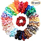 Canflo 50 Colors Hair Scrunchies Satin, Elastic Hair Bobbles Hair Scrunchy Ties Vintage Hair Bands Soft Ponytail Holder for Women and Girls