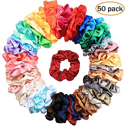 (Canflo 50 Colors Hair Scrunchies Satin, Elastic Hair Bobbles Hair Scrunchy Ties Vintage Hair Bands Soft Ponytail Holder for Women and Girls)