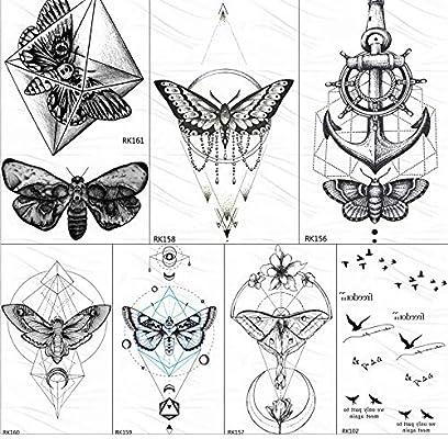 yyyDL Mariposa geométrica MoPendant Tatuajes temporales Etiqueta ...