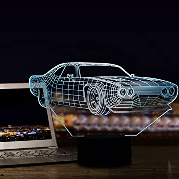 Night Table Lamps 3D Retro Vintage Car LED Illusion Lamp Bedroom Decorative  Night Light 7 Color