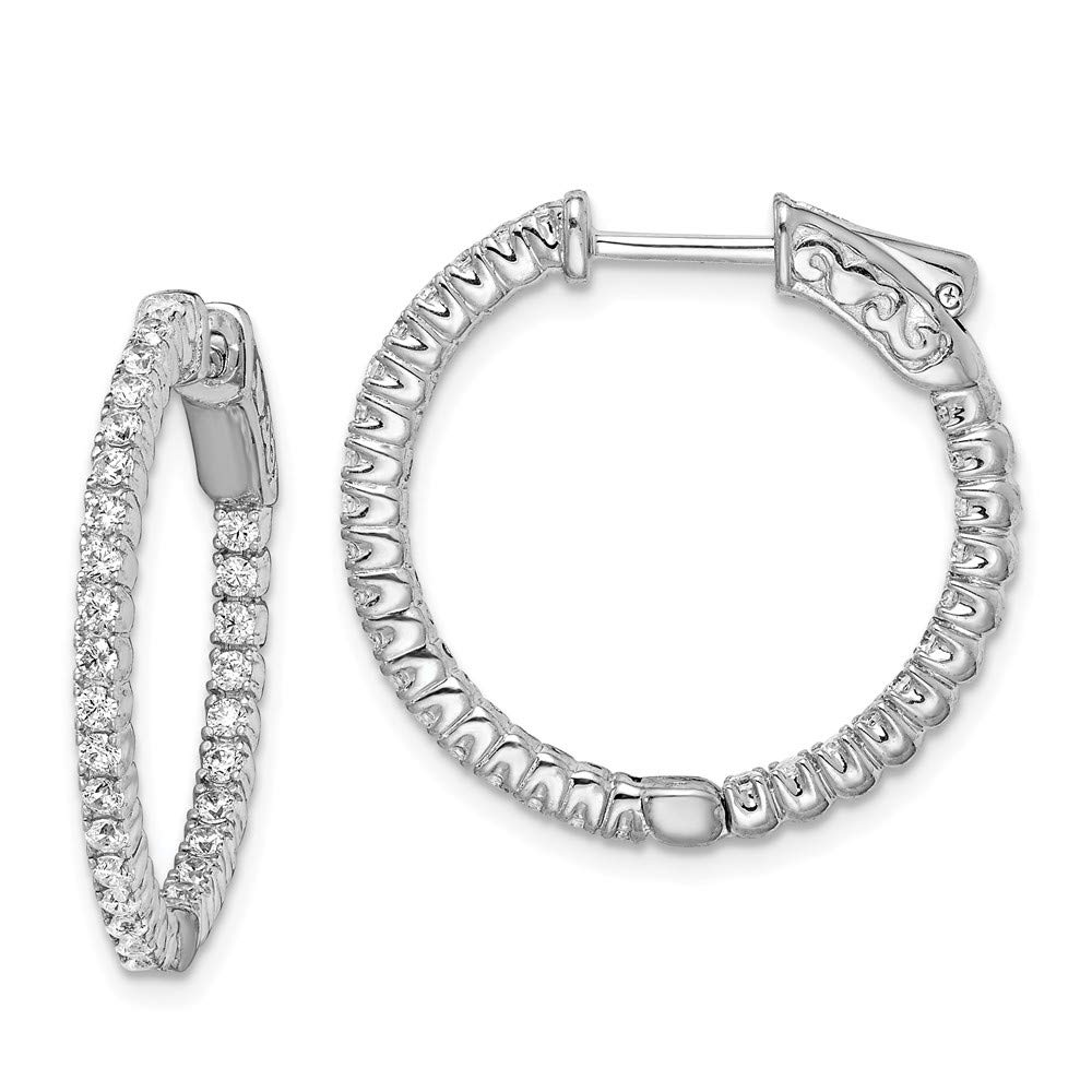23mm x 24mm Mia Diamonds 925 Sterling Silver Solid Rhodium-Platedin and Out Cubic Zirconia Hinged Hoop Earrings
