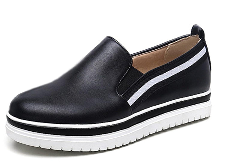 SHOWHOW Damen Neu Niedriger Absatz Durchgängiges Plateau Runde Zehen Sneakers Schwarz 34 EU HWa8b2