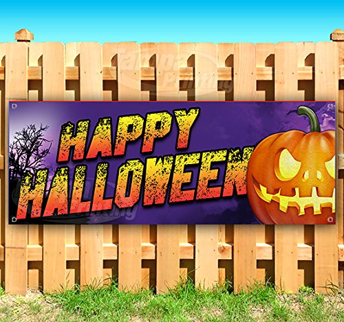 (Happy Halloween 13 oz Heavy Duty Vinyl Banner Sign with Metal Grommets, New, Store, Advertising, Flag, (Many Sizes)