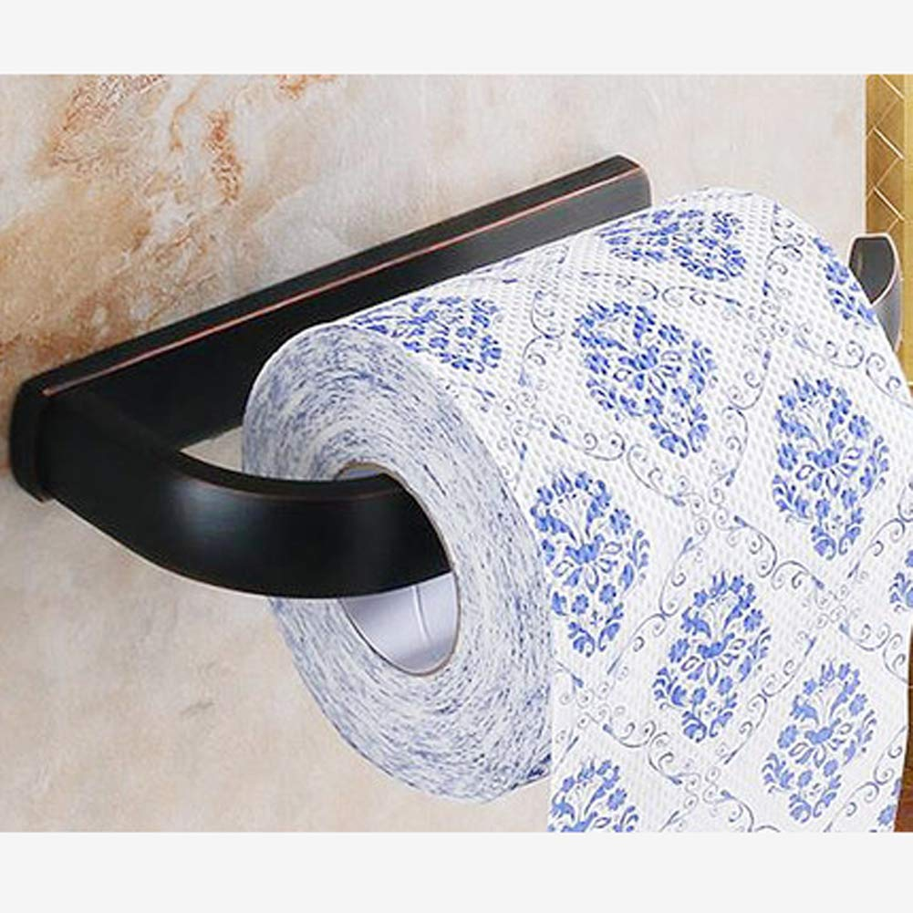 Q&F Toilet Paper Holder,Tissue Roll Hanger,Wall Mount Tissue Holder - Waterproof, Moisture Proof,Rust Protection,Brass-black