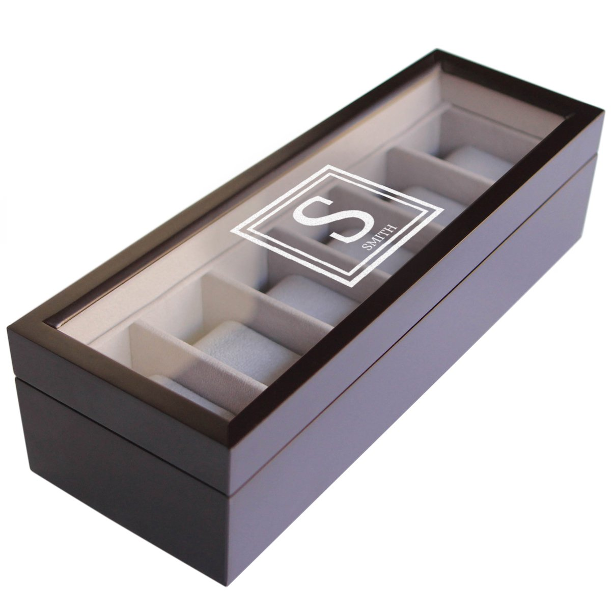 Custom Engraved Solid Espresso Wood Watch Boxes - 6 slot by case Elegance