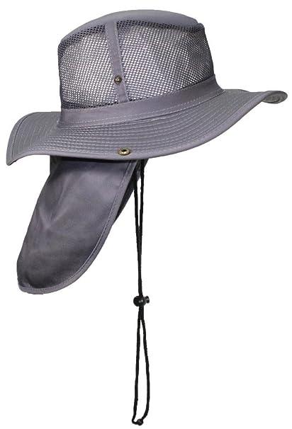 1ebf2e0974180 Tropic Hats Packable Wide Brim Mesh Safari Outback W Neck Flap   Snap up