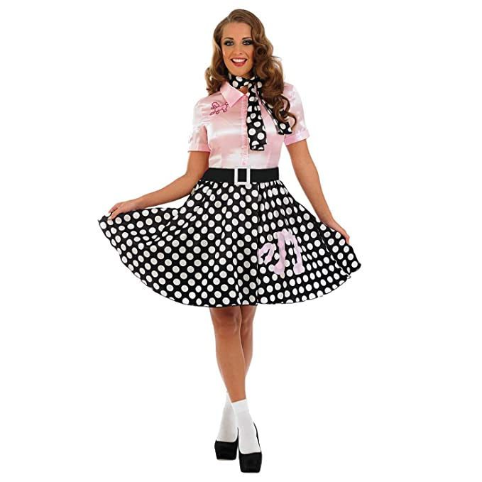 1950s Costumes- Poodle Skirts, Grease, Monroe, Pin Up, I Love Lucy Womens 50s Poodle Dress Costume Adults Polka Dot Pink & Black Outfit $50.00 AT vintagedancer.com