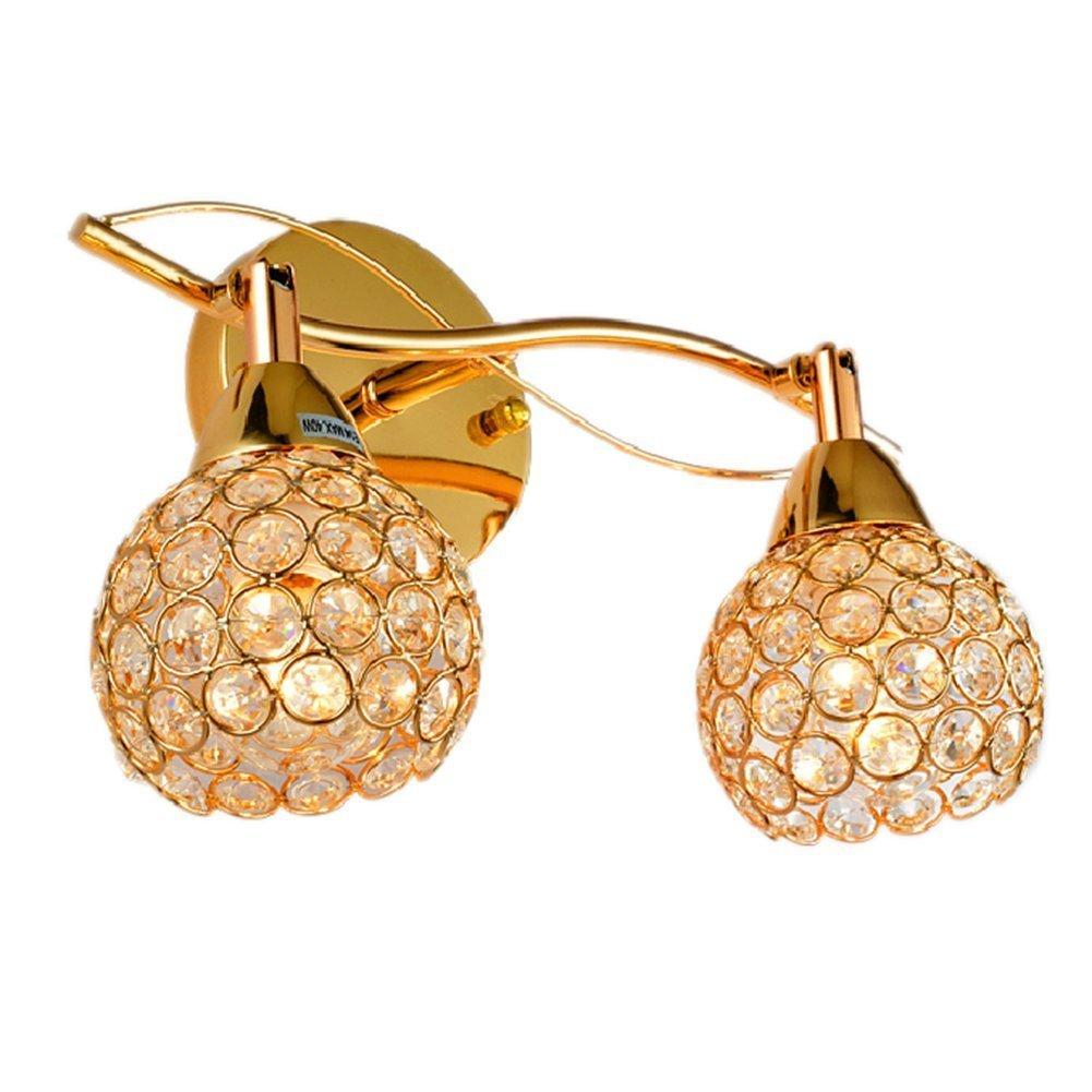 Lightess Modern Crystal Wall Sconce Lighting Fashion Hallway Bathroom Light Fixtures Indoor 2 Lights, Gold