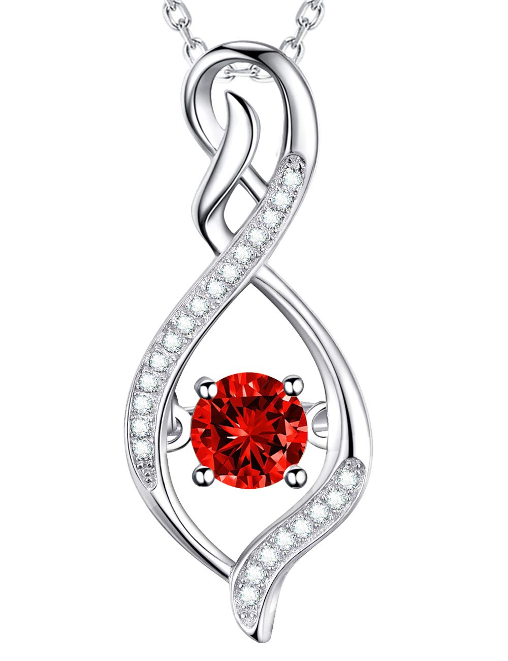 Elda&Co July Birthstone created Ruby Necklace Sterling Silver Forever Love Intinity Pendant Necklace for Women Teen Girls Birthday Gifts Anniversary Gifts for Her