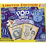 Kellogg's Printed Fun Pop Tarts, Frosted Sugar Cookie - Limited Edition 16 Count Toaster Pastries, 28.2 oz Box