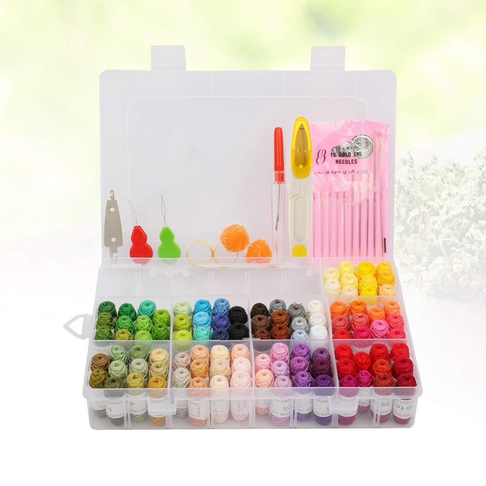 SUPVOX kits de punto de cruz de hilo de bordar con caja de organizaci/ón manualidades hilo de seda artesanal bordado pulseras bordadas a mano