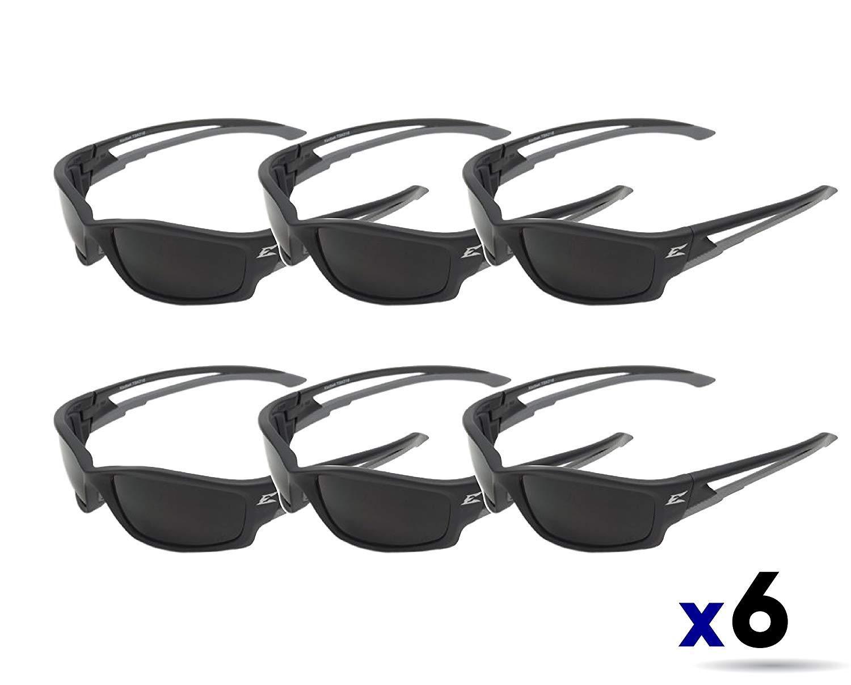 Edge Eyewear TSK216 Kazbek Polarized Safety Glasses, Black with Smoke Lens (6 Pack) by Edge Eyewear (Image #1)