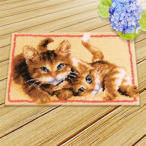DIY Rug Crochet Yarn Kits,Needlework Latch Hook Kit Unfinished Crocheting Rug Yarn Cushion Embroidery Carpet Set (Dog,21×15″ (52X39cm)