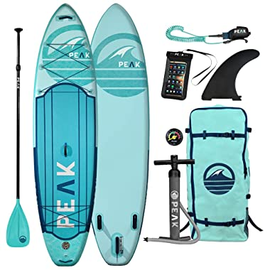 Peak Expedition Inflatable Stand Up Paddle Board | 10'6  or 11' Long x 32  Wide x 6  Thick | Durable and Lightweight Touring SUP | Stable Wide Stance | Includes Paddle, Leash, Bag, and Center Fin