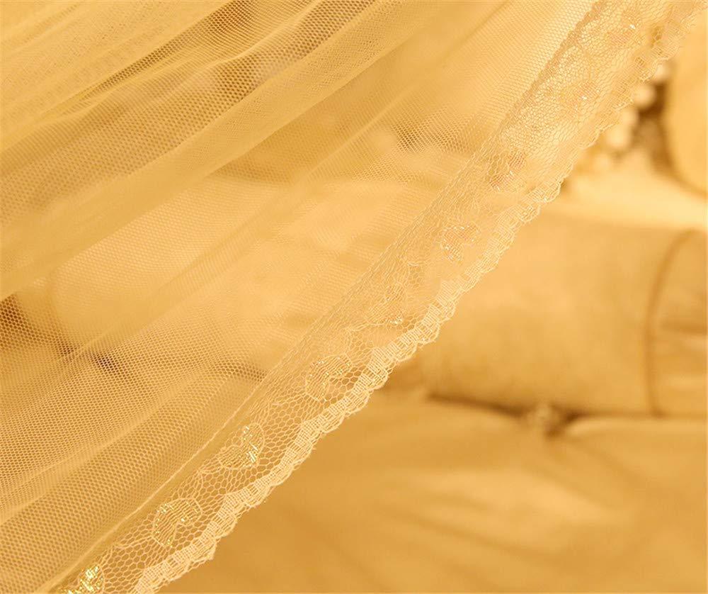 Mosquito net Bedroom Single Bed Gauze Three Door Home Princess Room Floor-Standing Stainless Steel Bracket Decorative Tent, Yellow, 1.8M by Lostryy-Mosquito Nets Baby (Image #5)