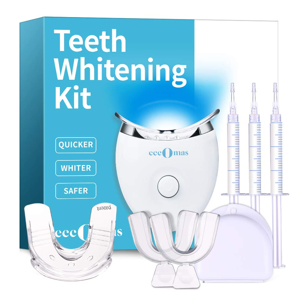 Teeth Whitening Kit with Led Light for Sensitive Teeth, 35% Carbamide Peroxide 3×3ml Gel Syringes with 5X Blue Light Accelerated, 2 Form Fitting Teeth Trays And A Travel Case Included
