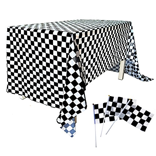 51 Pack Checkered Flag Racing Hand Held Stick Black & White Pennant Banner Decorations Supplies for Car Party Sport Events Kids Birthday Plastic Disposable Checkered Tablecloth]()
