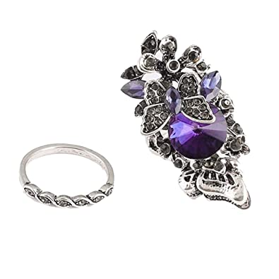 c6d3c4420c9 Women s Stainless Steel Vintage Sapphire   Amethyst Cubic Zirconia Antique  Wedding Jewelry Ring Set 2Pcs (