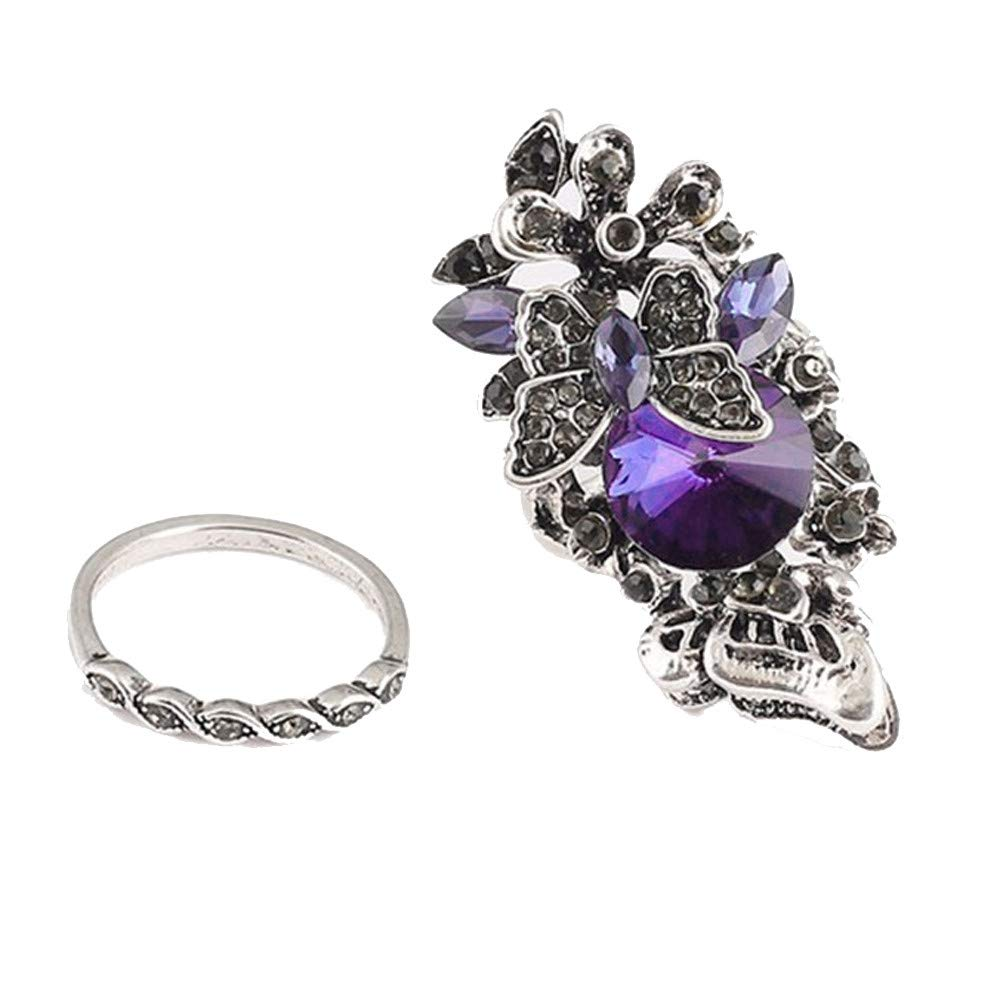 Women Boho Jewelry Sapphire Engagement Wedding Ring,Amethyst Inlay Butterfly Ring Size 2PCS