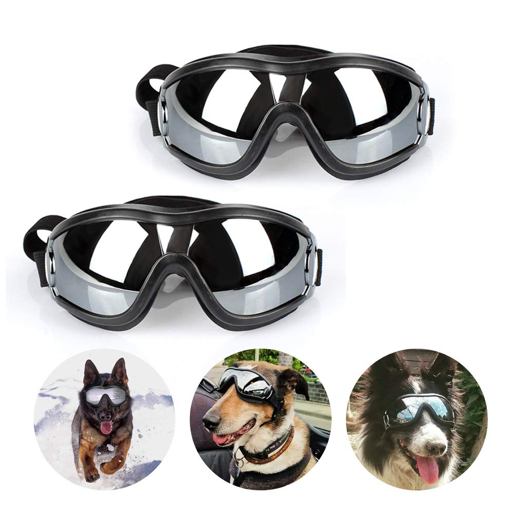 2 Pack Dog Sunglasses Eye Wear Dog GogglesProtection Waterproof Windproof UV Protection Adjustable Pet Goggles for Dogs Cats