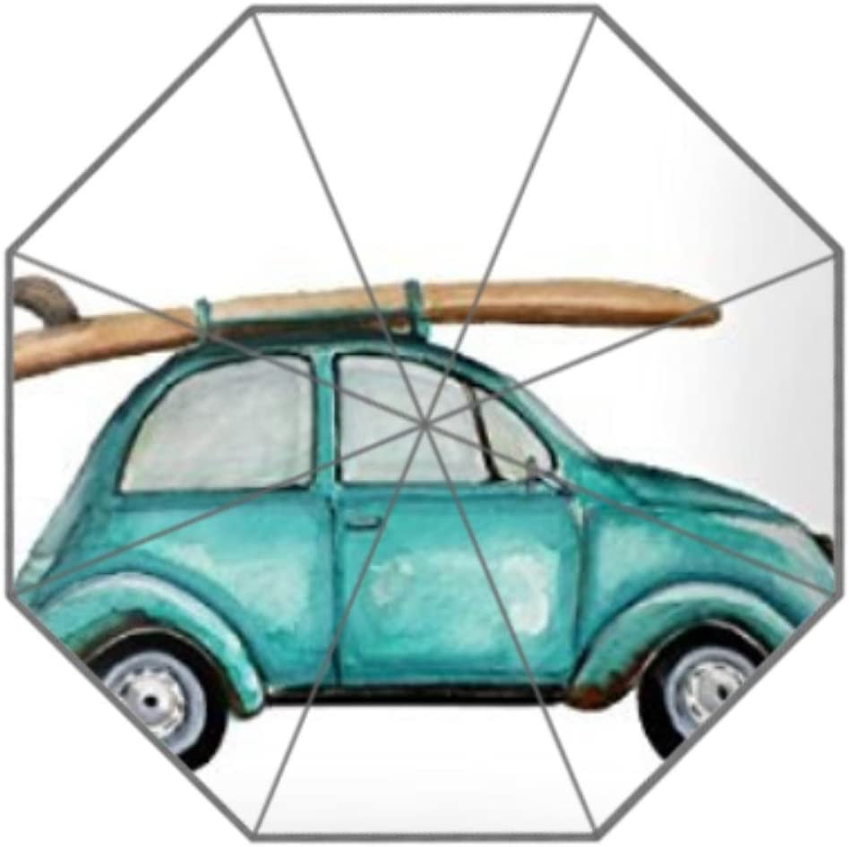 Turquoise Summer Time Bug Painting Home Decor Custom Umbrella Three Folding Umbrella
