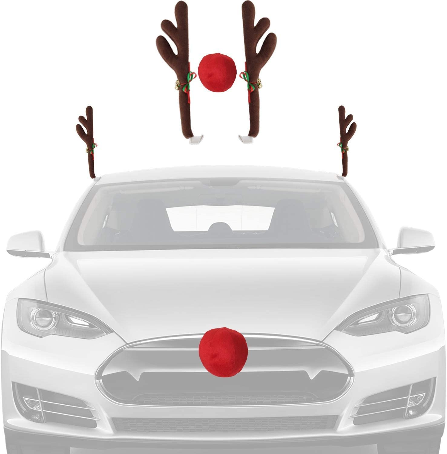 Christmas Car Decorations Reindeer Kit – Holiday Car Window Decor Rooftop Antlers and Auto Grill Red Nose Decor for Car