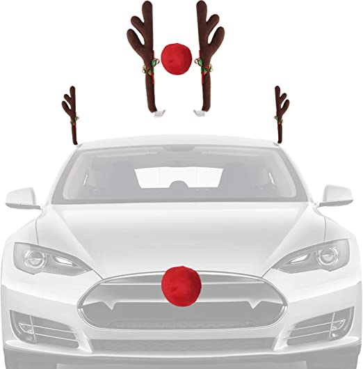 Reindeer Jingle Bell Christmas Costume Auto Accessories Decoration Kit for Car Windows and Front Grille Xmas Gift Set Joyjoz Christmas Car Reindeer Antler Decoration Kit with Nose Brown