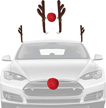 Novelty Large Reindeer Antlers and Red Nose Christmas Car Decoration