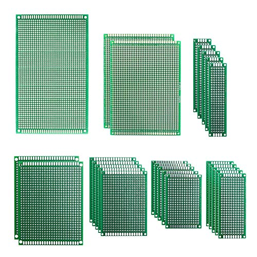 KeeYees 7 Sizes Double Sided Universal PCB Board Prototype Kit 2x8 3x7 4x6 5x7 7x9 8x12 9x15 cm for DIY Compatible with Arduino (25pcs in - Board Prototype