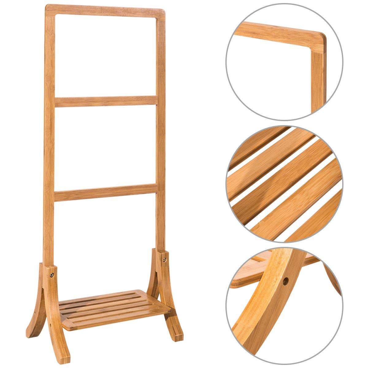 Tangkula Towel Rack 3-Bar Free Standing Bathroom Bamboo Towel Stand Holder Organizer with Shelf