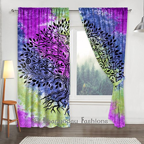 Indian Tie Dye Tree Of Life Mandala Curtain, Tapestry Drapes, Handmade Curtain Panel Window Treatment Panel, Balcony Room Decor Valance Curtain Boho S…