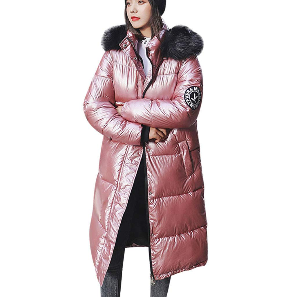 Coupondeal Women Winter Thicker Warm Loose Windproof Bright Surface Diamond Long Overcoat(Pink,M) by Coupondeal