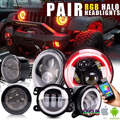 RGB Halo Headlights w/ 4 '' Fog Lights Multi Color Angel Eye Halo Ring Bluetooth Control+ Amber Turn Signal Lamps for 2007-2017 Jeep Wrangler JK Rubicon JKU Sahara Sport Unlimited ()