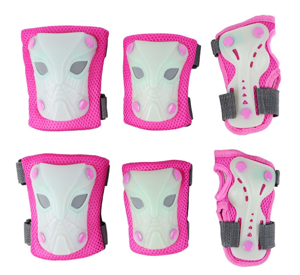 Girls Boys Toddler Knee Elbow Wrist Pads Set Safety Protective Gear Fluorescence Sponge Padded Anti-Crash Skate Roller Blading Cycling Kneepad Knee Braces Elbow Wrist Support Guards
