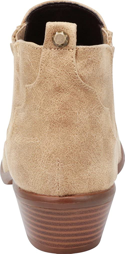 Cambridge Select Womens Closed Toe Distressed Western Whipstitch Chunky Stacked Block Heel Ankle Bootie