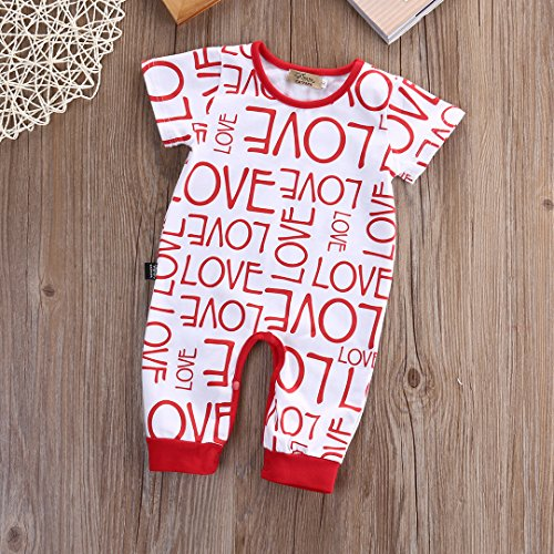 Infant Baby Boys Girls Pajamas Love Letter Print Red Romper Bodysuit Outfits