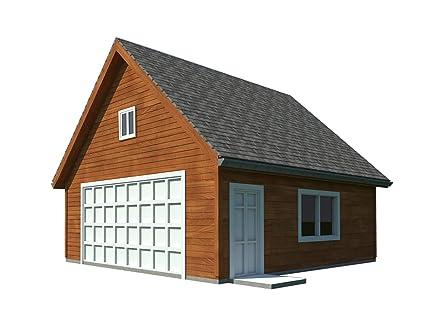 Amazon Com Two Car Garage Plans With Loft Diy Backyard Shed