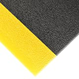 NoTrax 415 Pebble Step Sof-Tred Safety/Anti-Fatigue Mat with Dyna-Shield PVC Sponge, for Dry Areas, 3' Width x 12' Length x 3/8'' Thickness, Black/Yellow