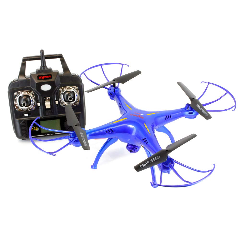 FPV Syma X5SW Explorers2 2.4G 4CH 6-Axis Gyro RC Headless Quadcopter with Wifi Camera Tenergy Thunder Blue Deluxe Package with additional accessories