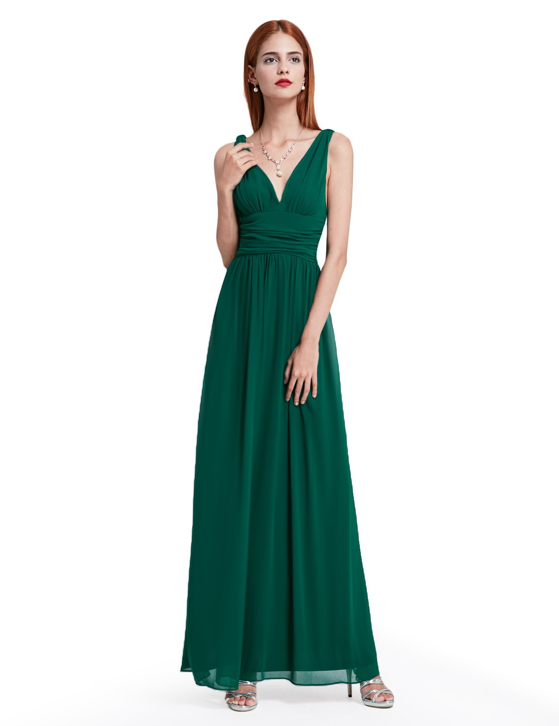Ever-Pretty Womens Maxi Ruched Long Casual Summer Maxi Dress 10 US Dark Green