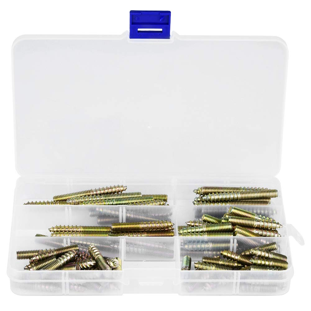 90pcs Hanger Bolts M6 Dowel Screw Iron Double Ended Screws Zinc Plating Self Tapping Threaded Rods Bars Studs Woodworking