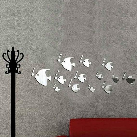 Omkuwl Extraíble peces de mar Bubble Wall Sticker 3D Espejo ...