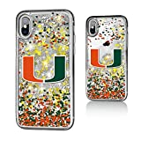 Keyscaper NCAA Miami Hurricanes KGLGIX-0MIA-FETTI1 Apple iPhone Glitter Case, iPhone X, Clear