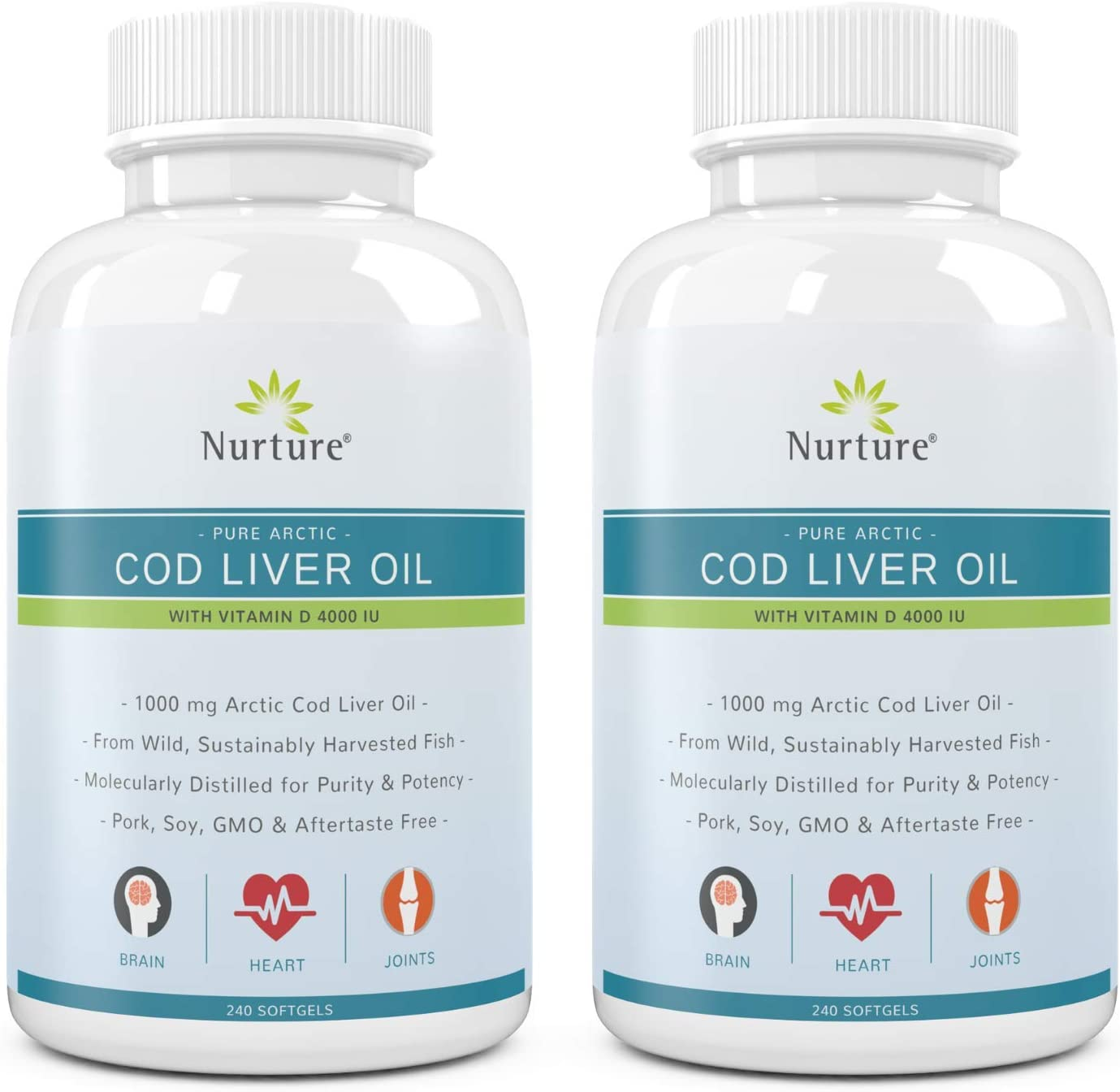 Pure Arctic Cod Liver Oil with Vitamin D 4000 IU (2-Pack) | 1000 mg Cod Liver Oil – Promotes Brain, Joint & Cardiovascular Health – 360 Liquid Softgel Capsules